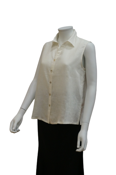 S/LESS SHIRT COLLAR LINEN BLOUSE