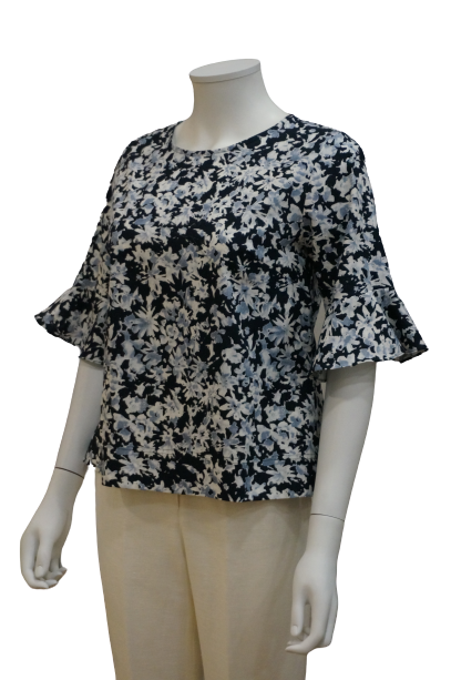 S/SLEEVE WITH RUFFLE PRINTED LINEN COTTON BLOUSE