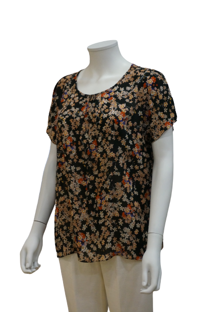 ROUND NECK FLORAL VISCOSE BLOUSE WITH FRONT GATHERS