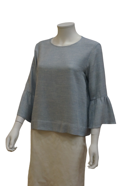 3/4 BELL SLEEVE WITH GATHERS LINEN BLOUSE