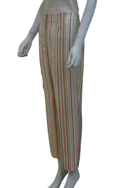 ANKLE LENGTH STRIPED LINEN VISCOSE PANTS WITH BACK ELASTIC