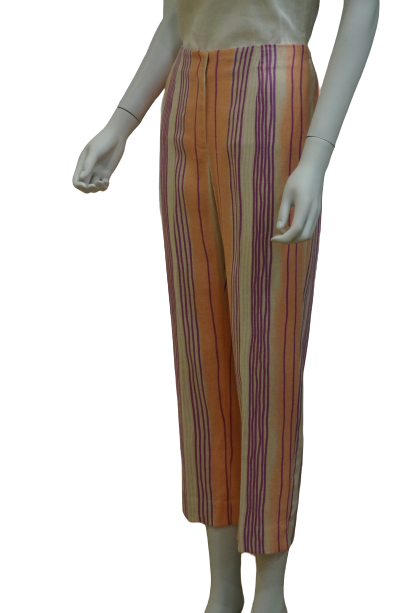 ANKLE LENGTH STRIPED LINEN PANTS WITH BACK ELASTIC
