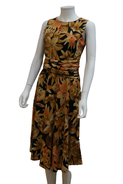 S/LESS FLORAL LINEN VISCOSE DRESS WITH SASH