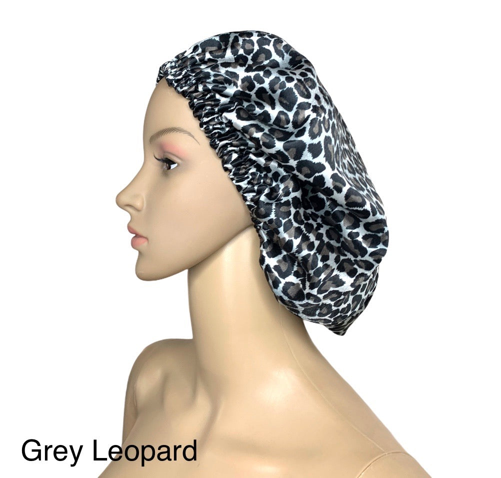 Reversible Leopard Satin Bonnet
