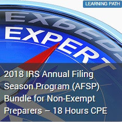 2018 IRS Annual Filing Season Program (AFSP) Bundle for Non-Exempt Preparers – 18 Hours CPE