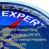 2020 IRS Annual Filing Season Program (AFSP) Bundle for Exempt Preparers – 15 Hours CPE