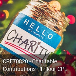 CPE70820 - Charitable Contributions - 1 Hour CPE