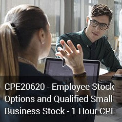 CPE20620 - Employee Stock Options and  Qualified Small Business Stock - 1 Hour CPE