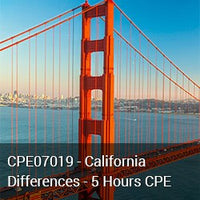 CPE07019 - California Differences - 5 Hours CPE