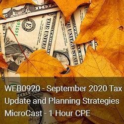WEB0920 - September 2020 Tax Update and Planning Strategies MicroCast - 1 Hour CPE