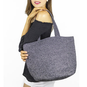 Two Tone Straw Tote