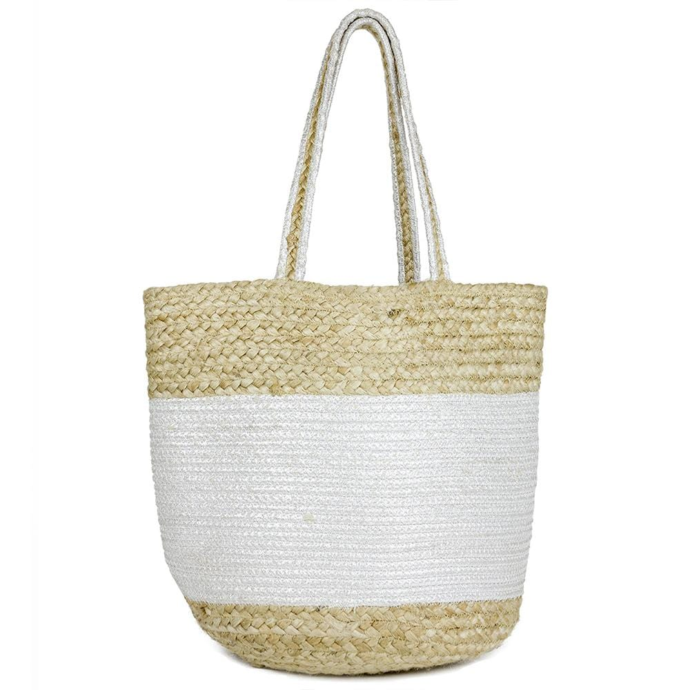 Colored Straw Pattern Beach Tote
