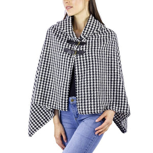 Black & White Houndstooth Buckle Poncho