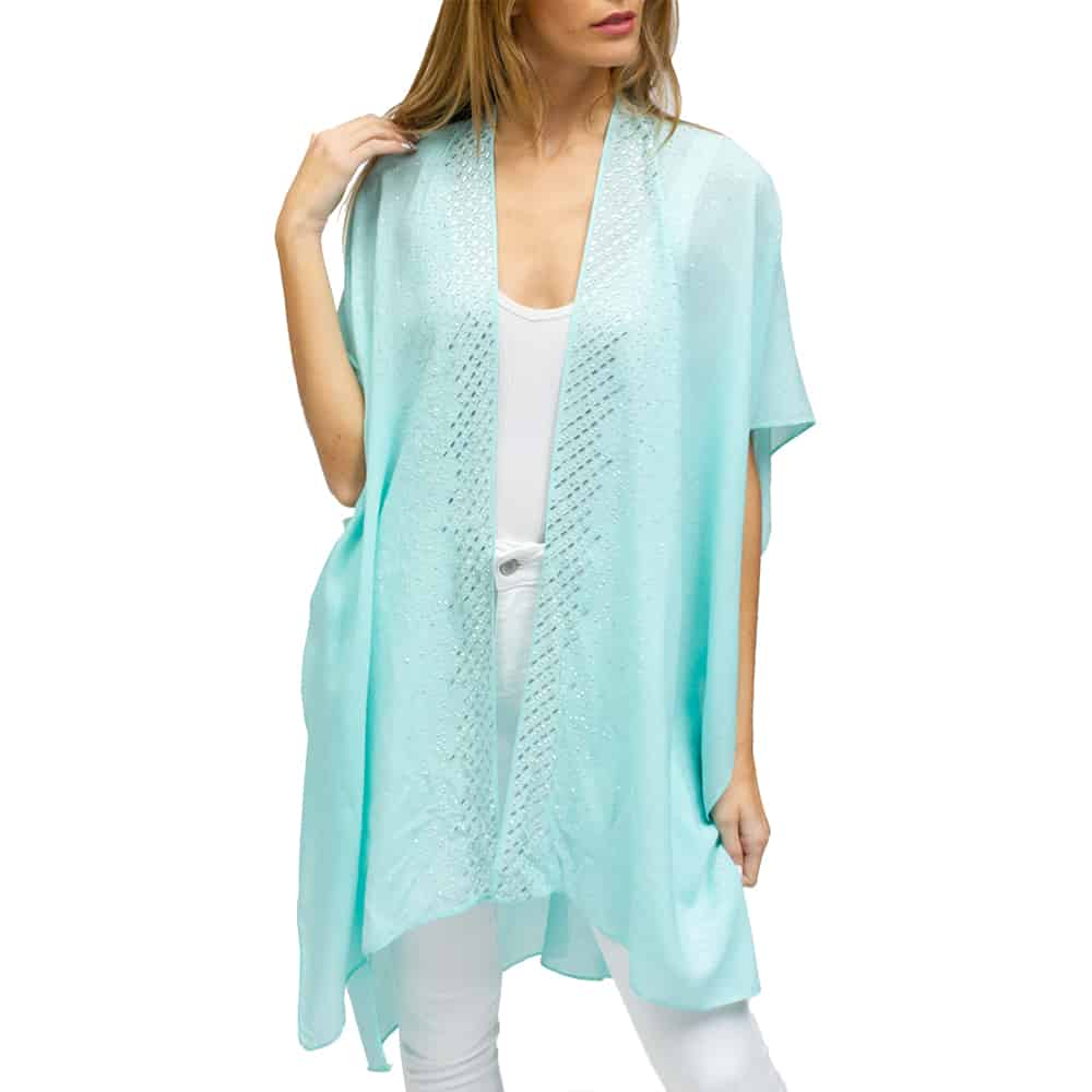 JESSICA MCCLINTOCK WOMEN'S RHINESTONE BORDER KIMONO WITH GLITTER