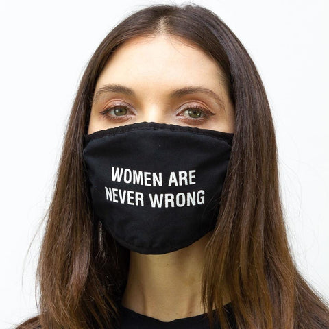 "2 PC ""Women are Never Wrong"" Verbage Face Mask Pack"