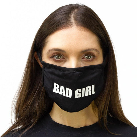 "2 PC  ""Bad Girl"" Verbage Face Mask Pack"