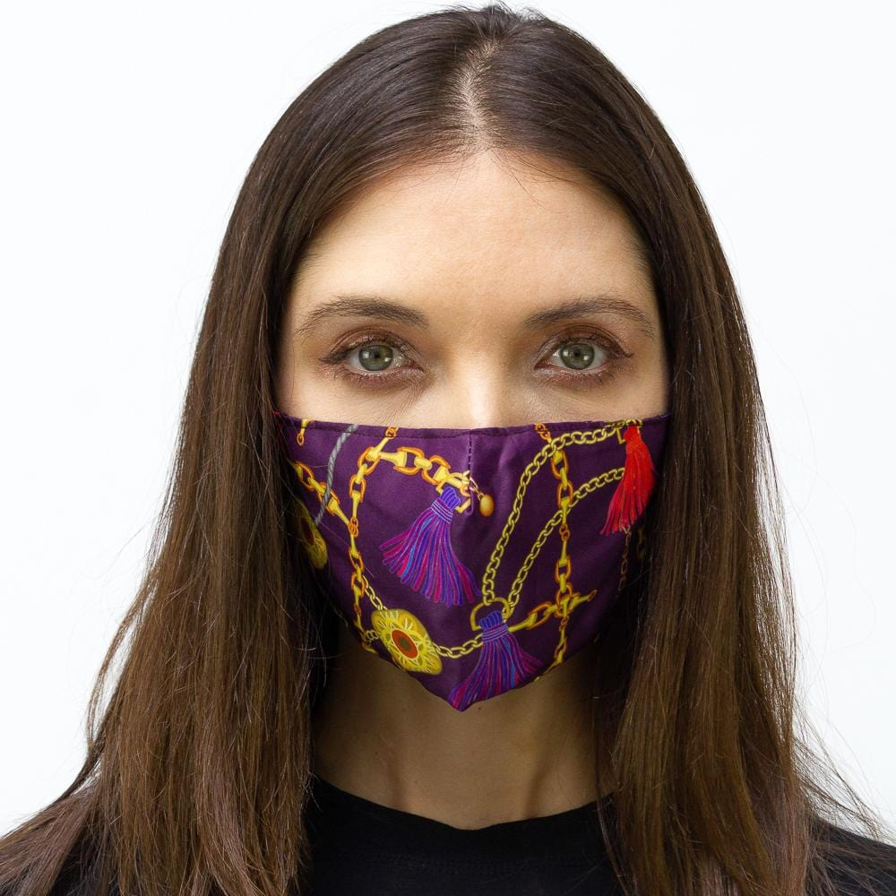 Purple & Gold Chain  Printed Face Mask