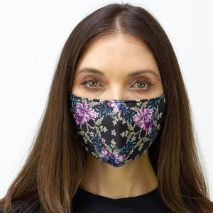 Black Mixed Floral Printed Face Mask