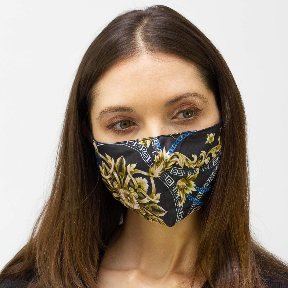 Black & Navy Chain  Printed Face Mask
