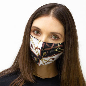 Brown & Gold Chain  Printed Face Mask