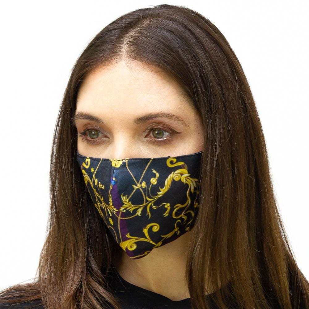 Black & Gold Chain With Flourish Printed Face Mask