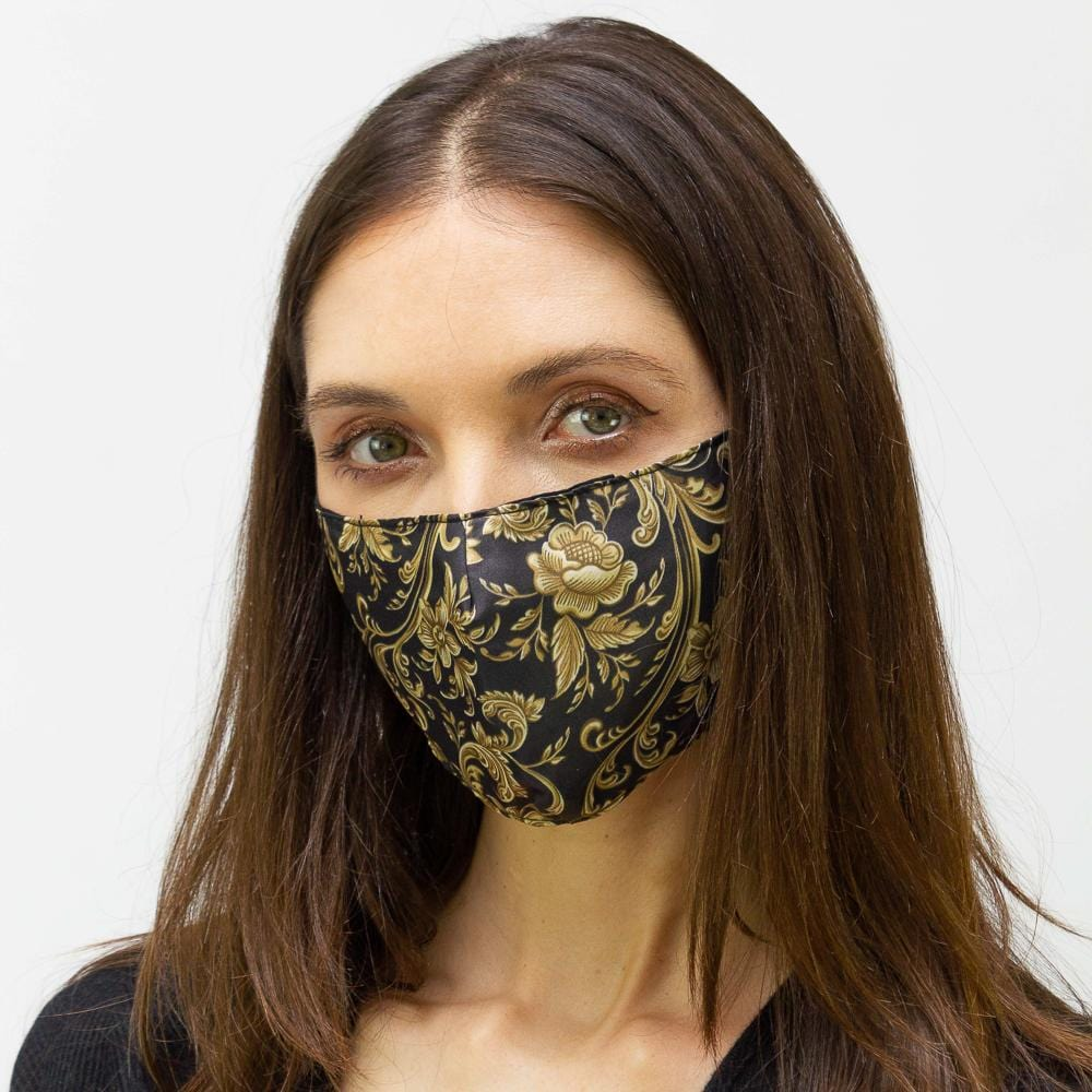 Black & Gold Flourish  Printed Face Mask