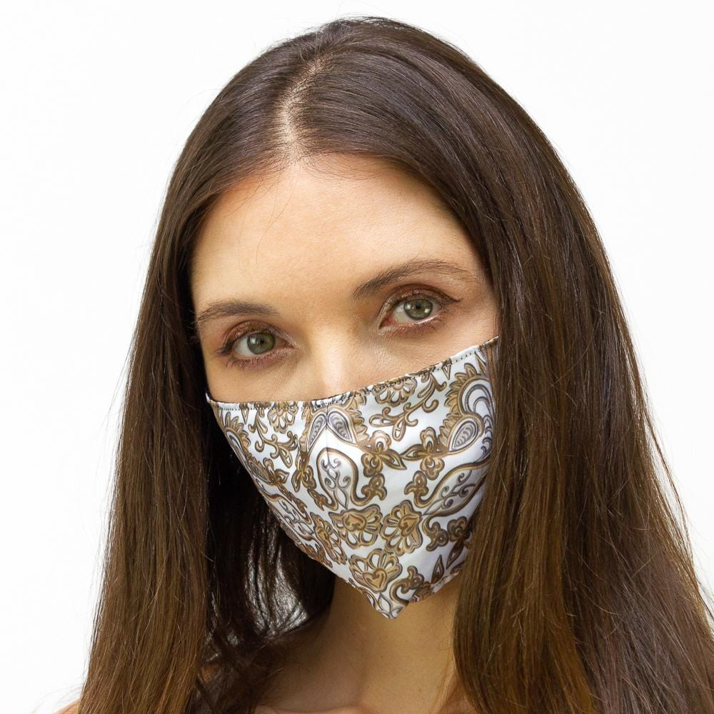 White & Gold Flourish  Printed Face Mask