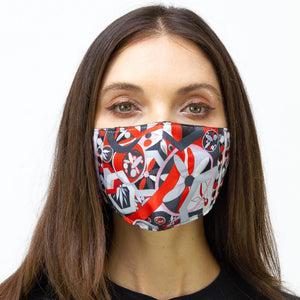 Orange Geometric Printed Face Mask