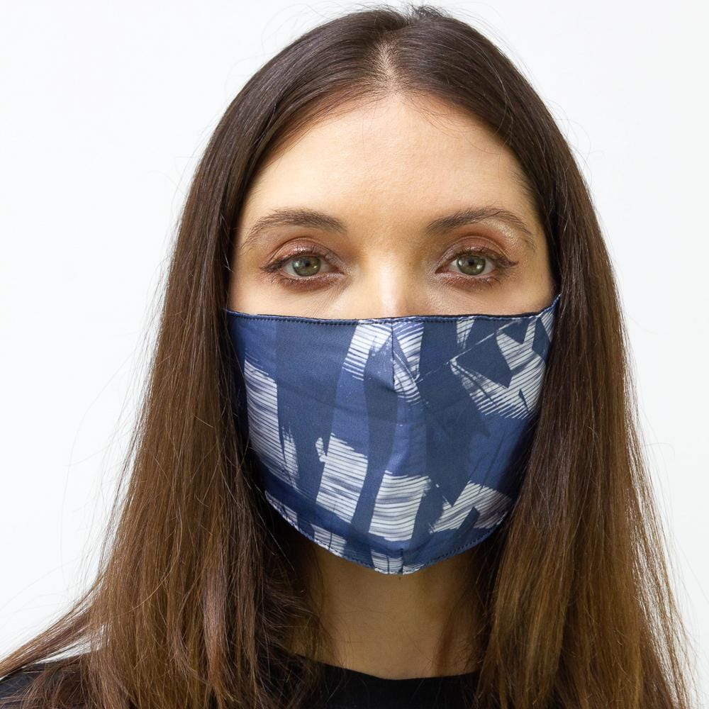 Navy Geometric Printed Face Mask