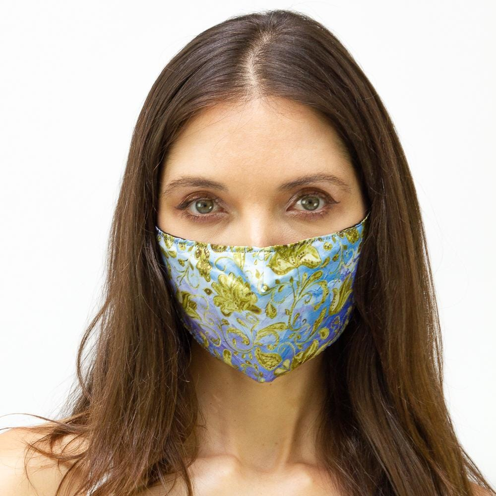 Blue & Gold Chain Flourish Printed Face Mask
