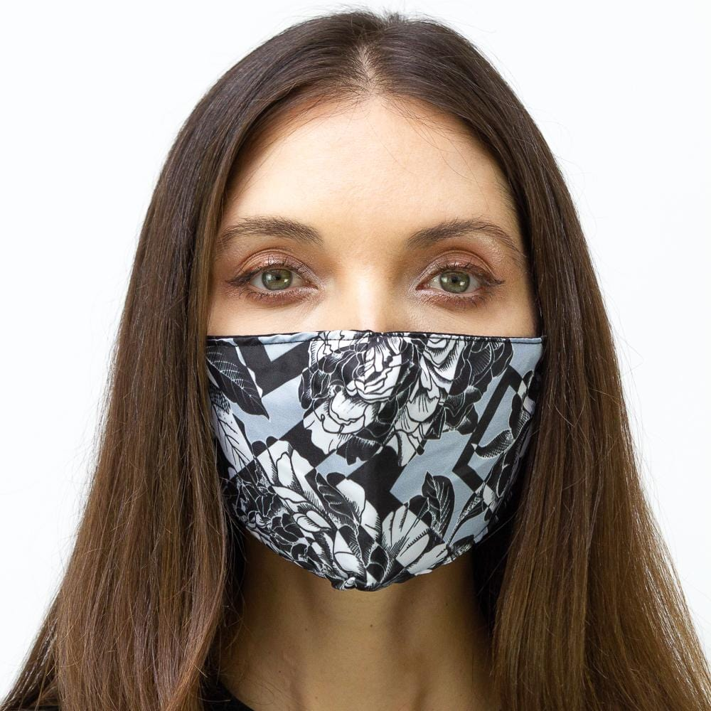Black & White Geometirc Floral Printed Face Mask