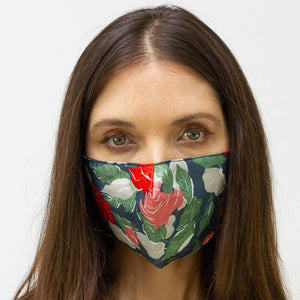 Navy & Floral Printed Face Mask