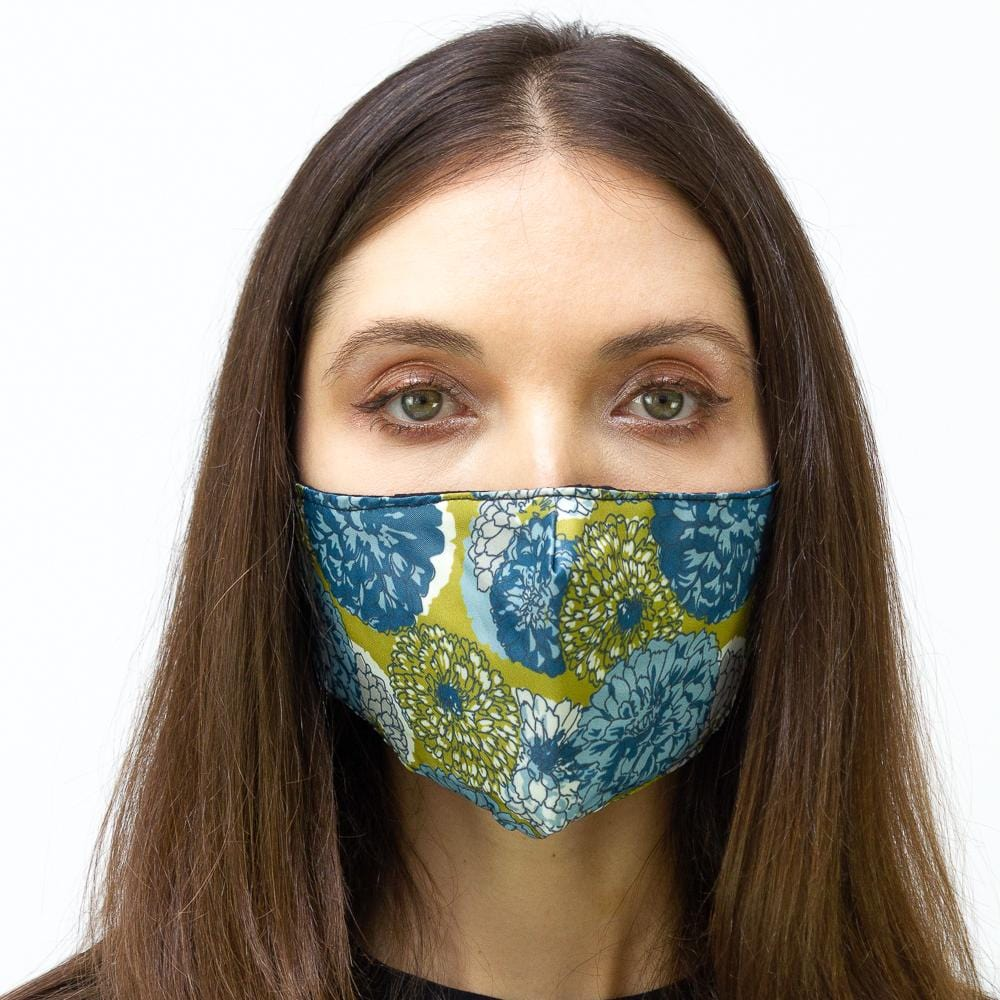 Lime & Blue Peony Printed Face Mask