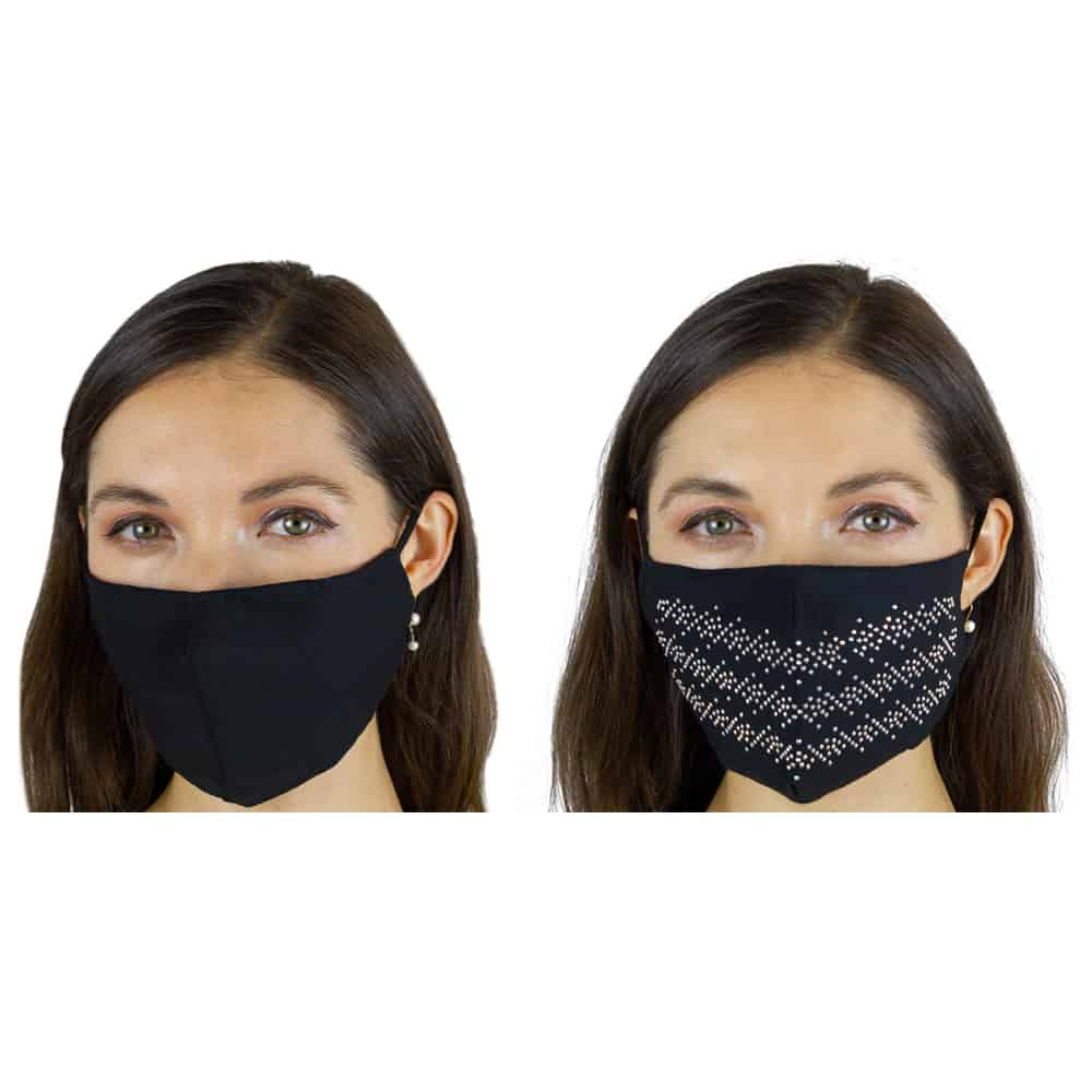 2 PC EMBELLISHED RHINESTONE STRIPE/SOLID FACE MASK COVERING WITH POCKET FILTER AND ADJUSTABLE STRAPS