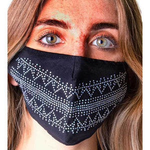 JESSICA MCCLINTOCK 2PC EMBELLISHED RHINESTONE/SOLID FACE MASK COVERING WITH POCKET FILTER AND ADJUSTABLE STRAPS