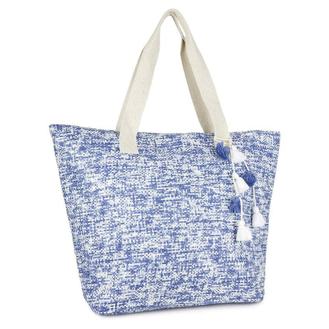 Two Tone Straw Insulated Tassel Beach Tote