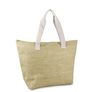 Two Tone Straw Insulated Beach Tote
