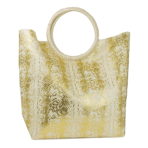 Circular Handle Metallic Print Straw Bag
