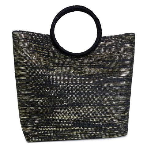 Circular Handle Metallic Straw Beach Tote