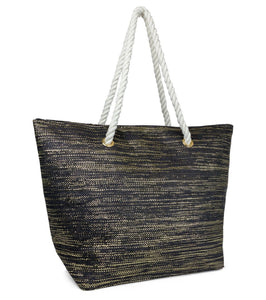 Metallic Rope Handle Straw Beach Tote