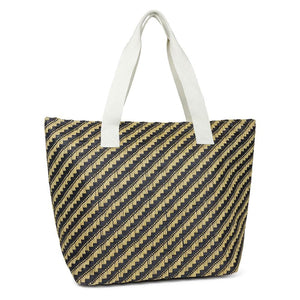 Geometric Straw Pattern Beach Tote