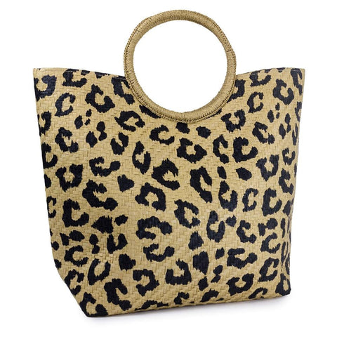 Circular Handle Leopard Print Straw Bag
