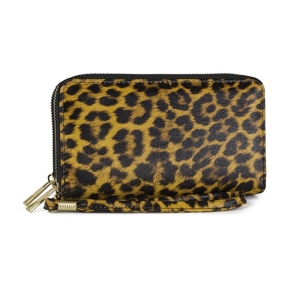 Leopard Print Double Zip Wallet