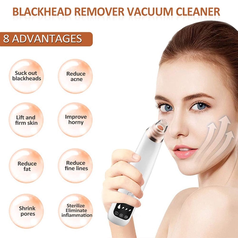 Pore cleaner blackhead remover vacuum Face skin care Black heads Acne Pimple Removal Vacuum cleaner black dot Removal Tools