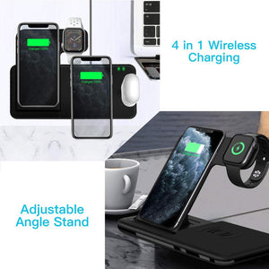 15W Qi Fast Wireless Charger Stand For iPhone 11 XR X 8 Apple Watch 4 in 1 Foldable Charging Dock Station