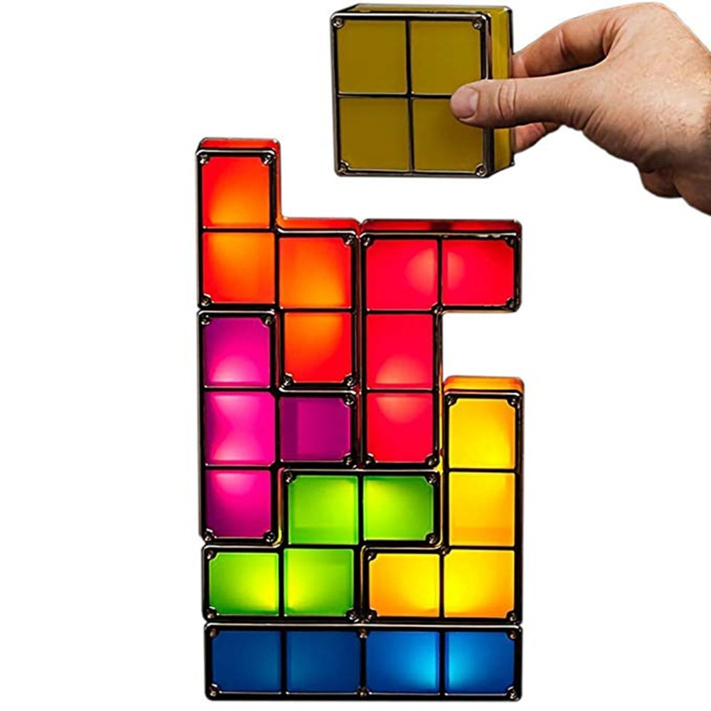 DIY Tetris Night Light Colorful Stackable Tangram Puzzles 7 Pieces LED Induction Interlocking Lamp 3D Toys Gift