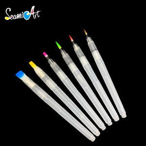 1/3/6Peices Refillable Paint Brush Water Color Brush Soft Watercolor Brush Ink Pen for Painting Calligraph Drawing Art Supplies