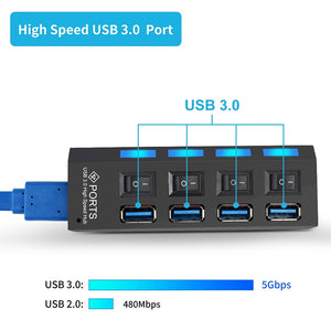 USB 3.0 HUB 2.0 HUB Multi USB Splitter 4/7 Port Expander Multiple USB 3 Hab Use Power Adapter USB3.0 Hub with Switch For PC