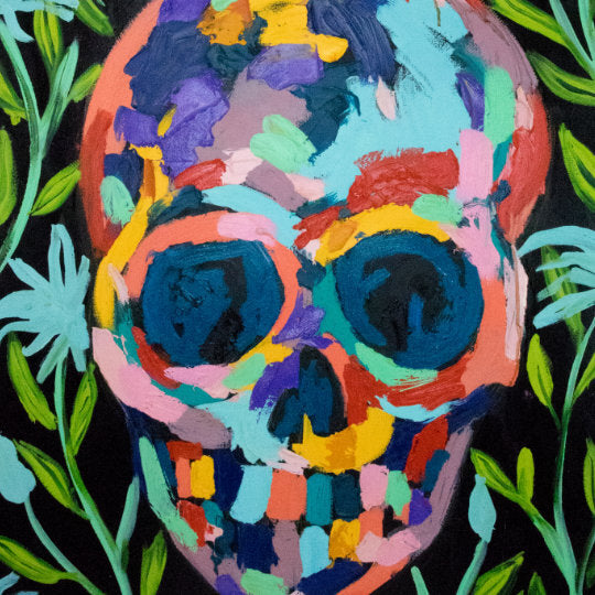Bradley Theodore Colourful Skull painting