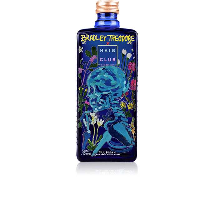 Bradley Theodore Artist Series Haig Club Clubman bottle with Field Of Flowers artwork.